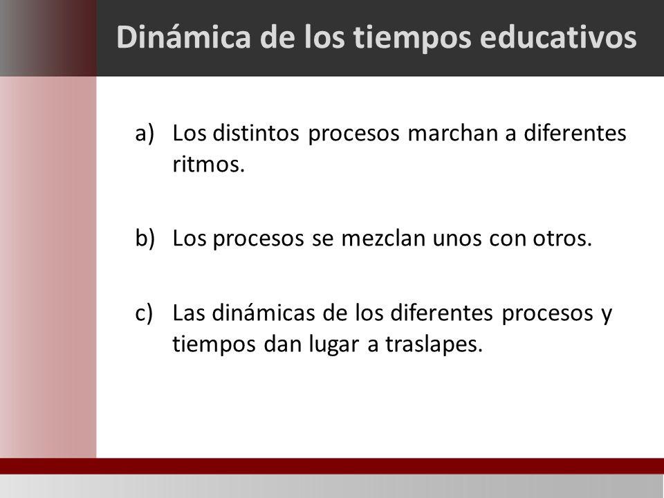 Dinámica de los tiempos educativos a)Los distintos procesos marchan a diferentes ritmos.