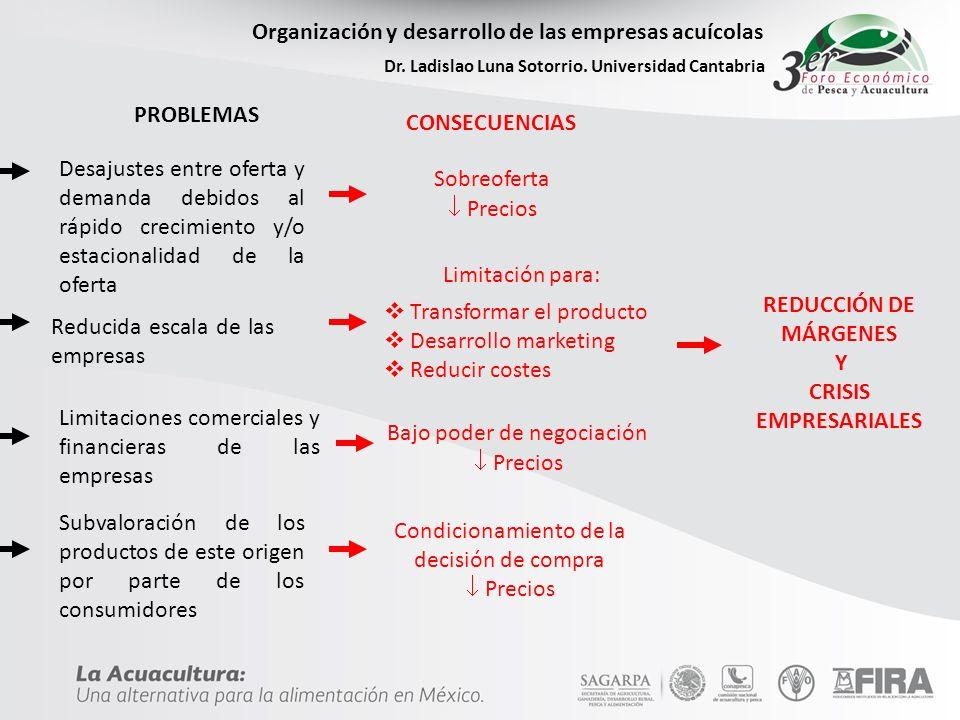 Organización y desarrollo de las empresas acuícolas Dr. Ladislao Luna Sotorrio. Universidad Cantabria PROBLEMAS Desajustes entre oferta y demanda debi