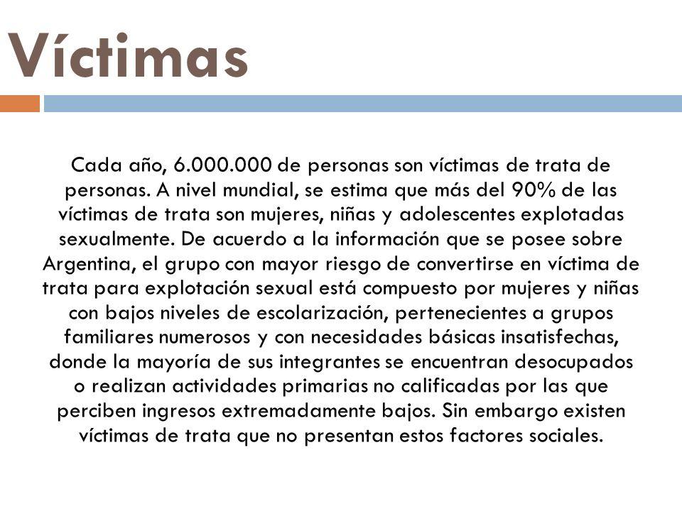 Víctimas Cada año, 6.000.000 de personas son víctimas de trata de personas. A nivel mundial, se estima que más del 90% de las víctimas de trata son mu