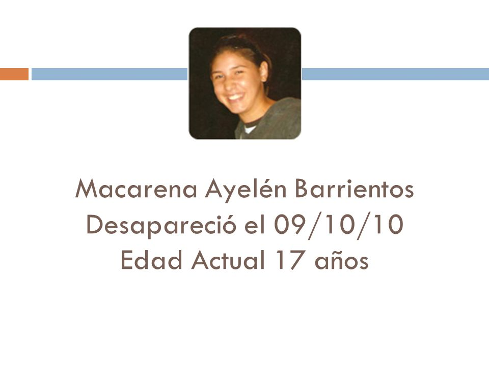 Macarena Ayelén Barrientos Desapareció el 09/10/10 Edad Actual 17 años