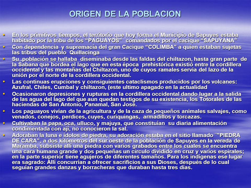 ORIGEN DE LA POBLACION En los primitivos tiempos, el territorio que hoy forma el Municipio de Sapuyes estaba habitado por la tribu de los PAGUAYOS com