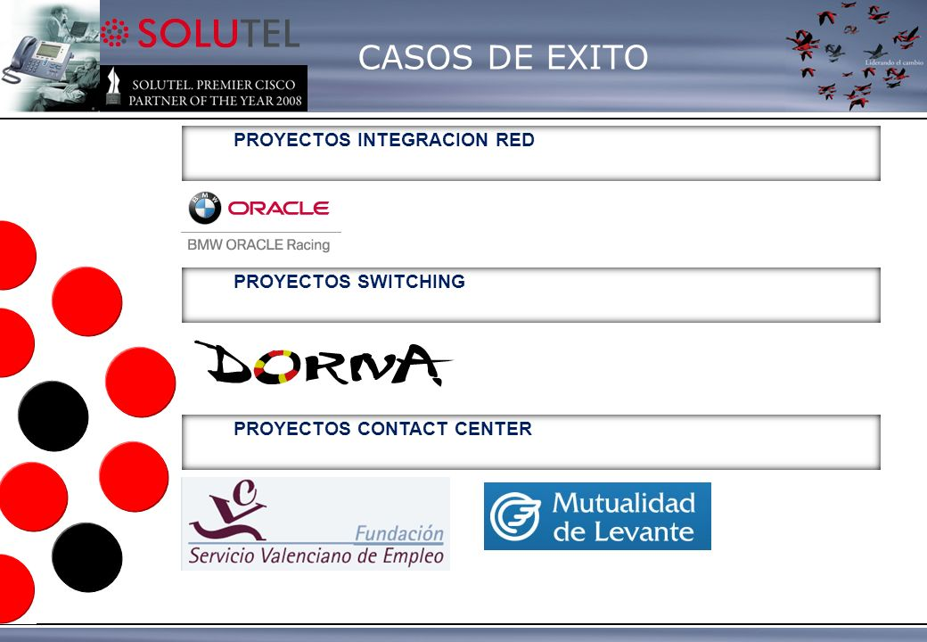 CASOS DE EXITO PROYECTOS INTEGRACION RED PROYECTOS CONTACT CENTER PROYECTOS SWITCHING