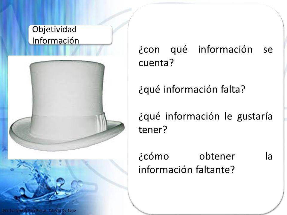 Basarse únicamente en los hechos y en los números No se deben emitir OPINIONES Funciona de forma práctica: similar a un computador, hechos no opiniones… Objetividad Información Objetividad Información ¿con qué información se cuenta.