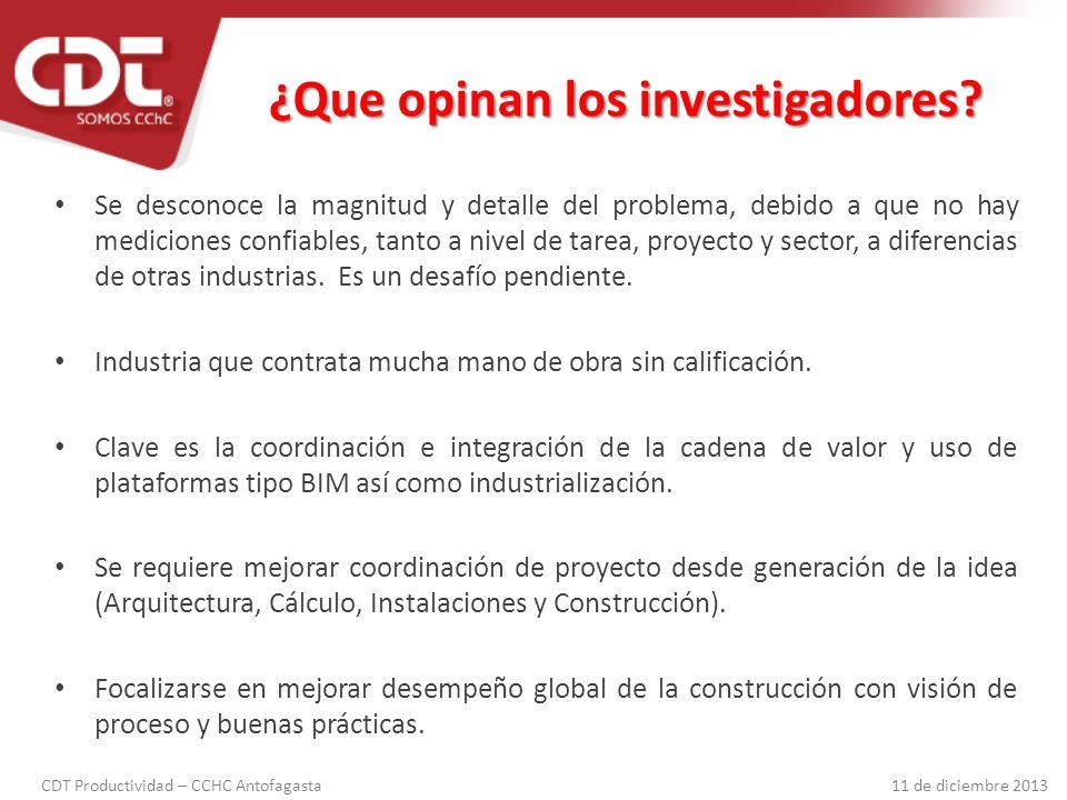 CDT Productividad – CCHC Antofagasta 11 de diciembre 2013 1.Tipo de proyecto 2.Conocimiento del proyecto 3.Planificación y control 4.Visión de procesos 5.Calidad de obra gruesa 6.Remates gruesos 7.Rendimientos 8.Uso de los tiempos Factores que afectan la productividad