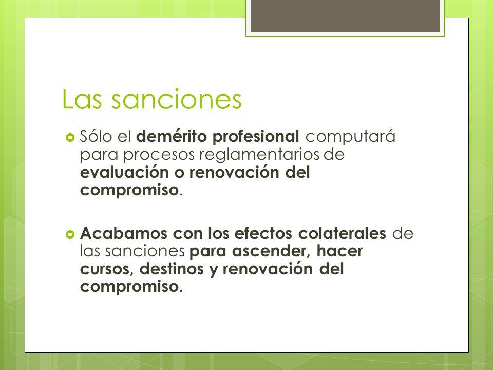 Las sanciones Sólo el demérito profesional computará para procesos reglamentarios de evaluación o renovación del compromiso.