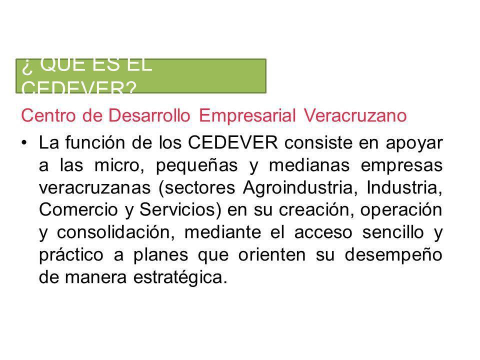 Centro de Desarrollo Empresarial Veracruzano La función de los CEDEVER consiste en apoyar a las micro, pequeñas y medianas empresas veracruzanas (sectores Agroindustria, Industria, Comercio y Servicios) en su creación, operación y consolidación, mediante el acceso sencillo y práctico a planes que orienten su desempeño de manera estratégica.
