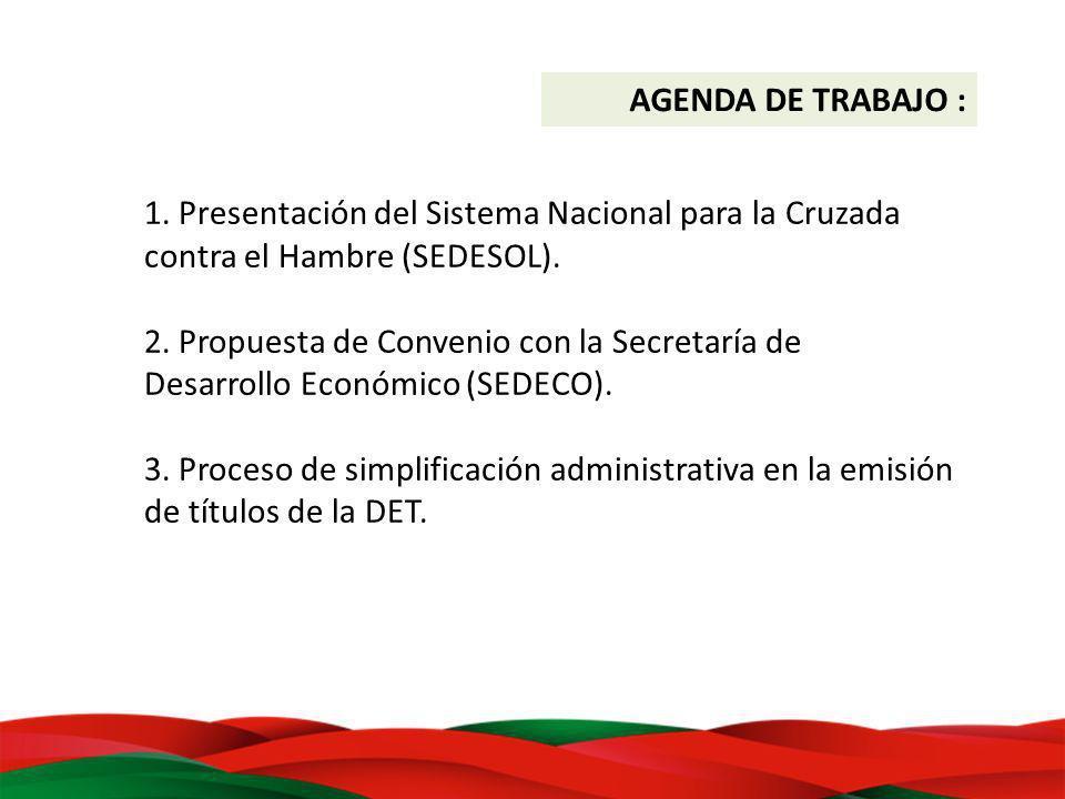 1. Presentación del Sistema Nacional para la Cruzada contra el Hambre (SEDESOL). 2. Propuesta de Convenio con la Secretaría de Desarrollo Económico (S