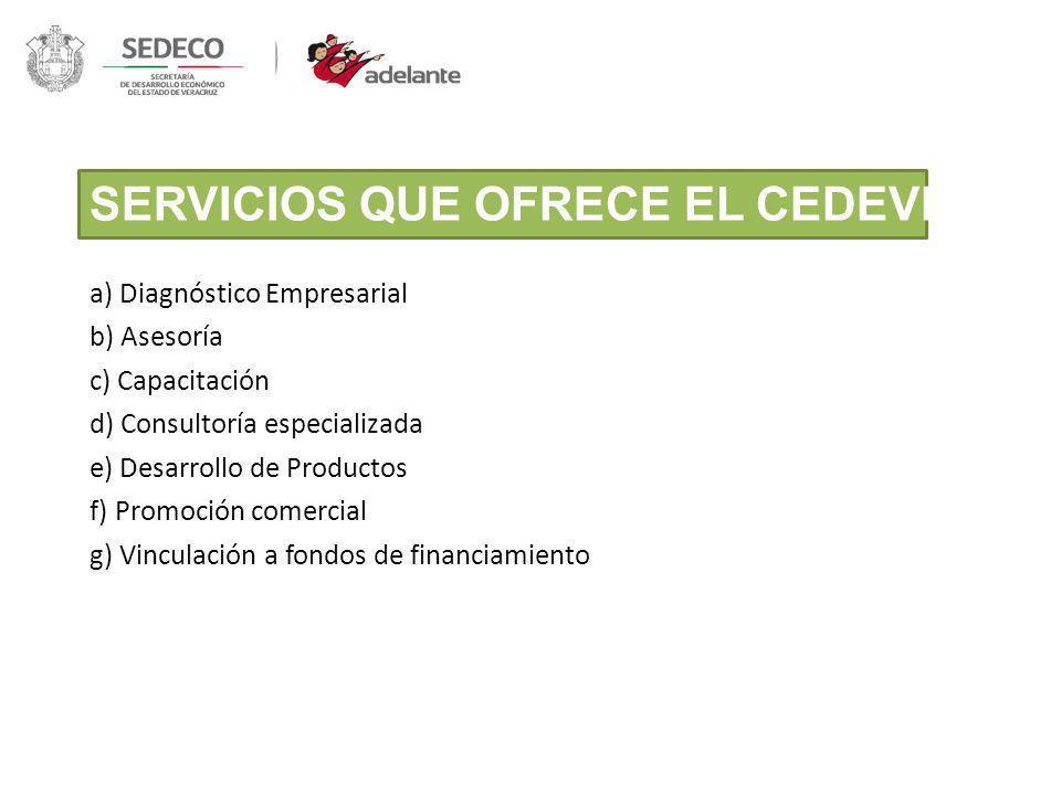 SERVICIOS QUE OFRECE EL CEDEVER: Servicios de alta calidad en los Cedever 5 a) Diagnóstico Empresarial b) Asesoría c) Capacitación d) Consultoría espe