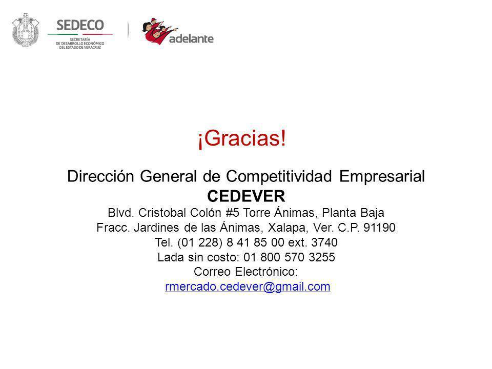 ¡Gracias! Dirección General de Competitividad Empresarial CEDEVER Blvd. Cristobal Colón #5 Torre Ánimas, Planta Baja Fracc. Jardines de las Ánimas, Xa