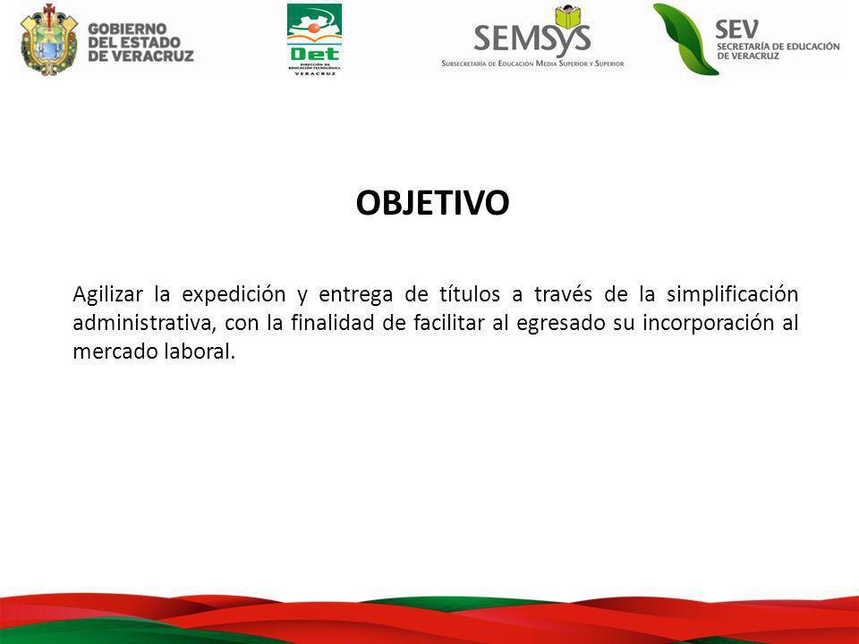 OBJETIVO Agilizar la expedición y entrega de títulos a través de la simplificación administrativa, con la finalidad de facilitar al egresado su incorporación al mercado laboral.