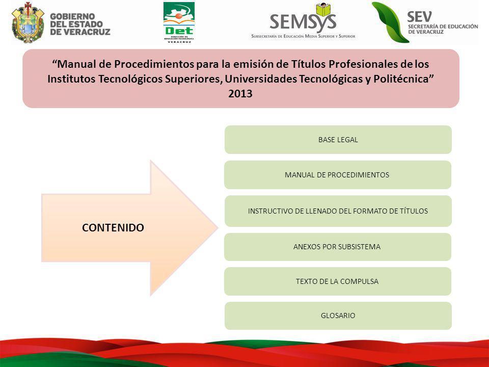 Manual de Procedimientos para la emisión de Títulos Profesionales de los Institutos Tecnológicos Superiores, Universidades Tecnológicas y Politécnica