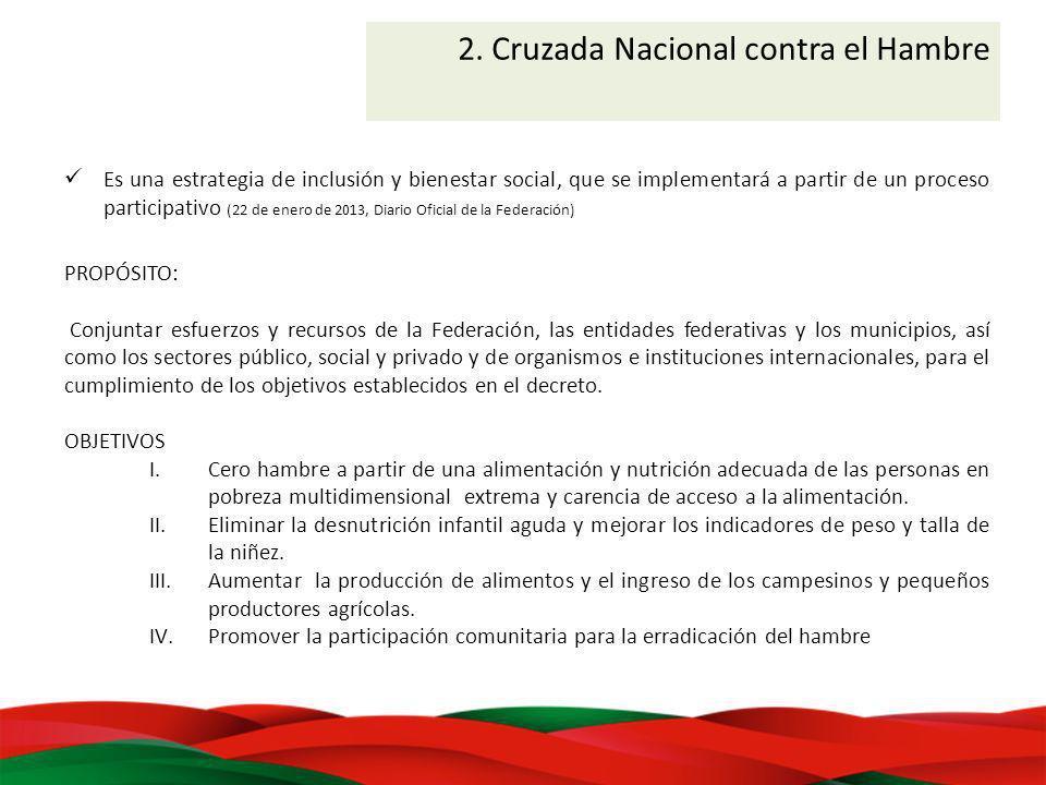 2. Cruzada Nacional contra el Hambre Es una estrategia de inclusión y bienestar social, que se implementará a partir de un proceso participativo (22 d