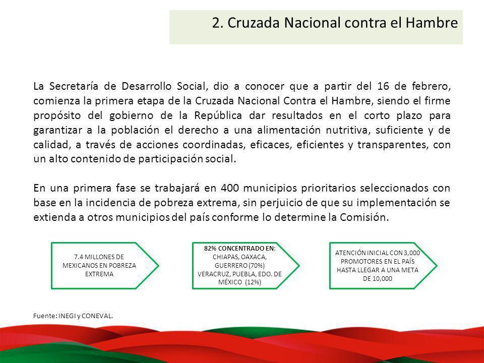 La Secretaría de Desarrollo Social, dio a conocer que a partir del 16 de febrero, comienza la primera etapa de la Cruzada Nacional Contra el Hambre, s