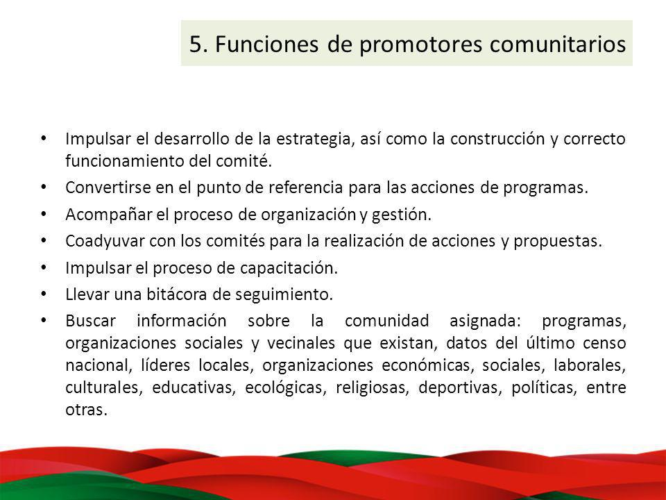 5. Funciones de promotores comunitarios Impulsar el desarrollo de la estrategia, así como la construcción y correcto funcionamiento del comité. Conver