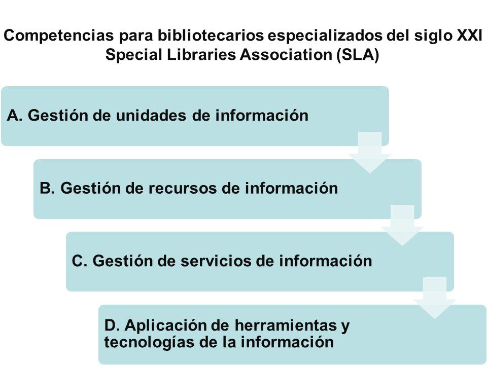 A. Gestión de unidades de informaciónB. Gestión de recursos de informaciónC. Gestión de servicios de información D. Aplicación de herramientas y tecno