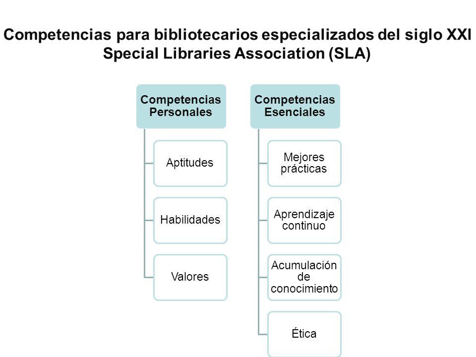 Competencias Personales AptitudesHabilidadesValores Competencias Esenciales Mejores prácticas Aprendizaje continuo Acumulación de conocimiento Ética