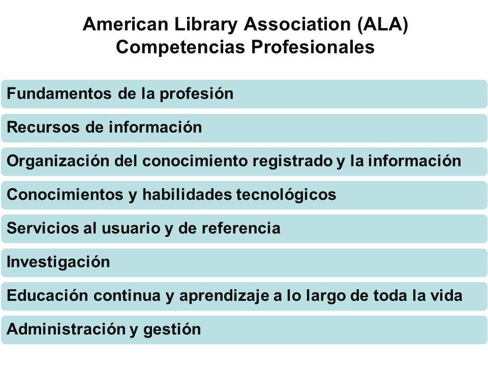 American Library Association (ALA) Competencias Profesionales Fundamentos de la profesiónRecursos de informaciónOrganización del conocimiento registra
