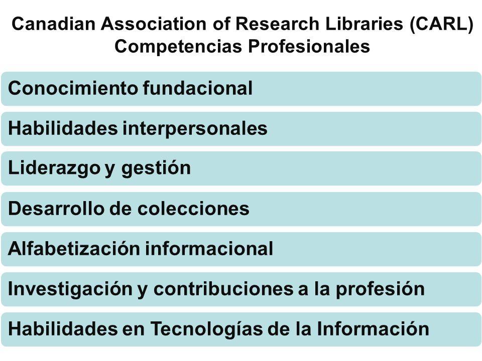 Canadian Association of Research Libraries (CARL) Competencias Profesionales Conocimiento fundacionalHabilidades interpersonalesLiderazgo y gestiónDes