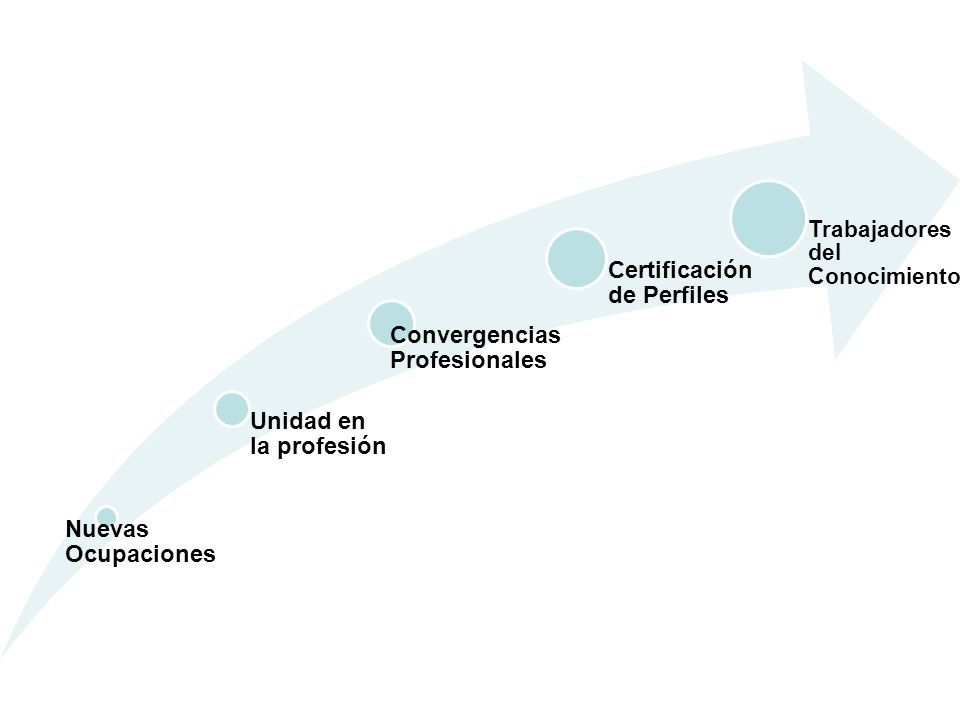 Nuevas Ocupaciones Unidad en la profesión Convergencias Profesionales Certificación de Perfiles Trabajadores del Conocimiento