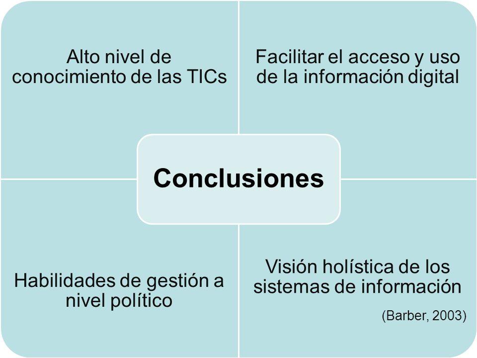 Alto nivel de conocimiento de las TICs Facilitar el acceso y uso de la información digital Habilidades de gestión a nivel político Visión holística de