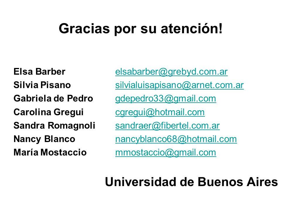 Gracias por su atención! Elsa Barber elsabarber@grebyd.com.arelsabarber@grebyd.com.ar Silvia Pisanosilvialuisapisano@arnet.com.arsilvialuisapisano@arn