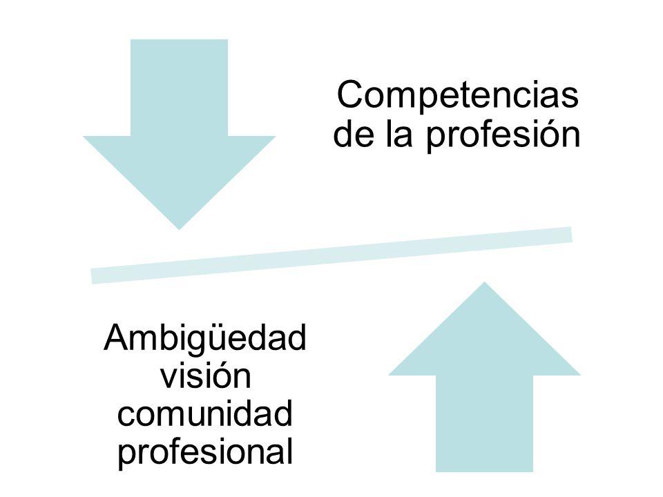 Competencias de la profesión Ambigüedad visión comunidad profesional