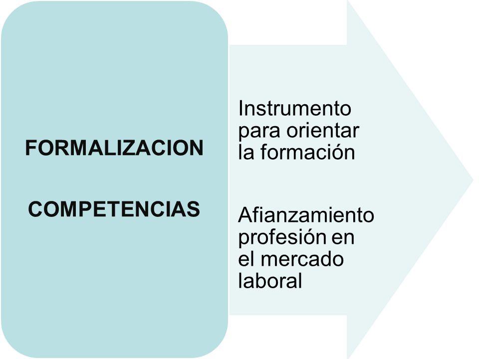 Instrumento para orientar la formación Afianzamiento profesión en el mercado laboral FORMALIZACION COMPETENCIAS
