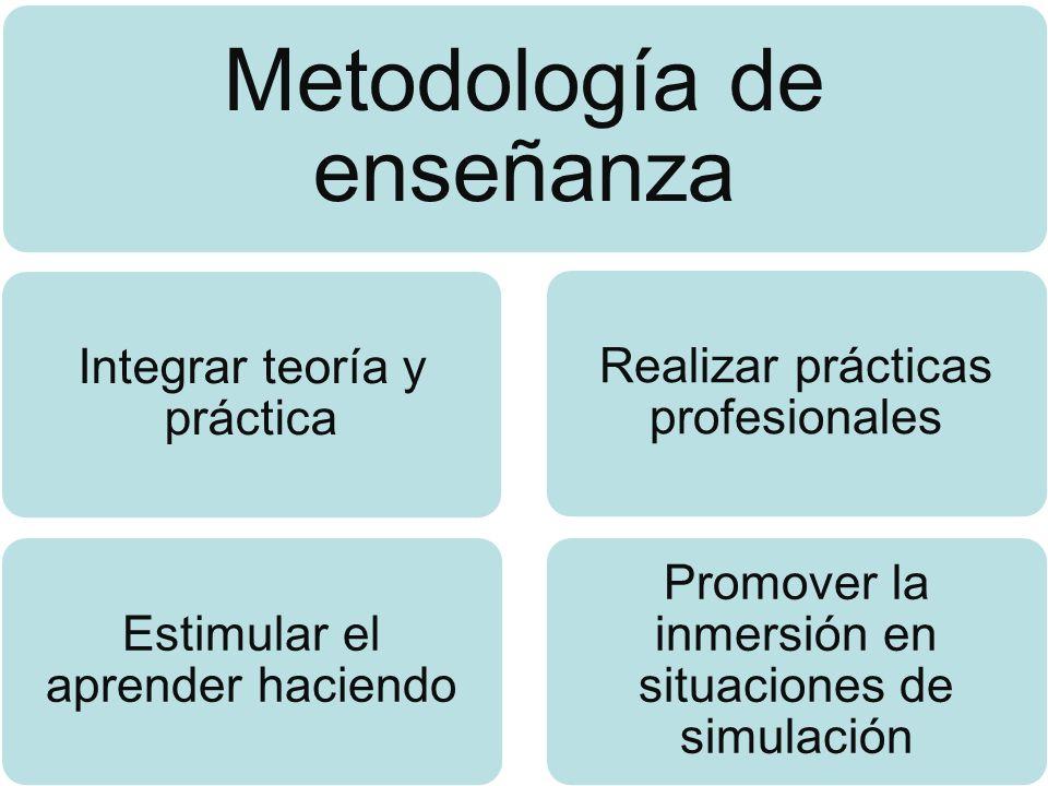 Metodología de enseñanza Integrar teoría y práctica Estimular el aprender haciendo Realizar prácticas profesionales Promover la inmersión en situacion