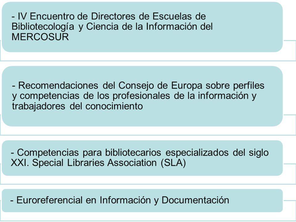 - IV Encuentro de Directores de Escuelas de Bibliotecología y Ciencia de la Información del MERCOSUR - Recomendaciones del Consejo de Europa sobre per