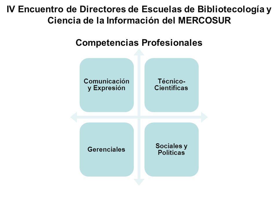 IV Encuentro de Directores de Escuelas de Bibliotecología y Ciencia de la Información del MERCOSUR Competencias Profesionales Comunicación y Expresión