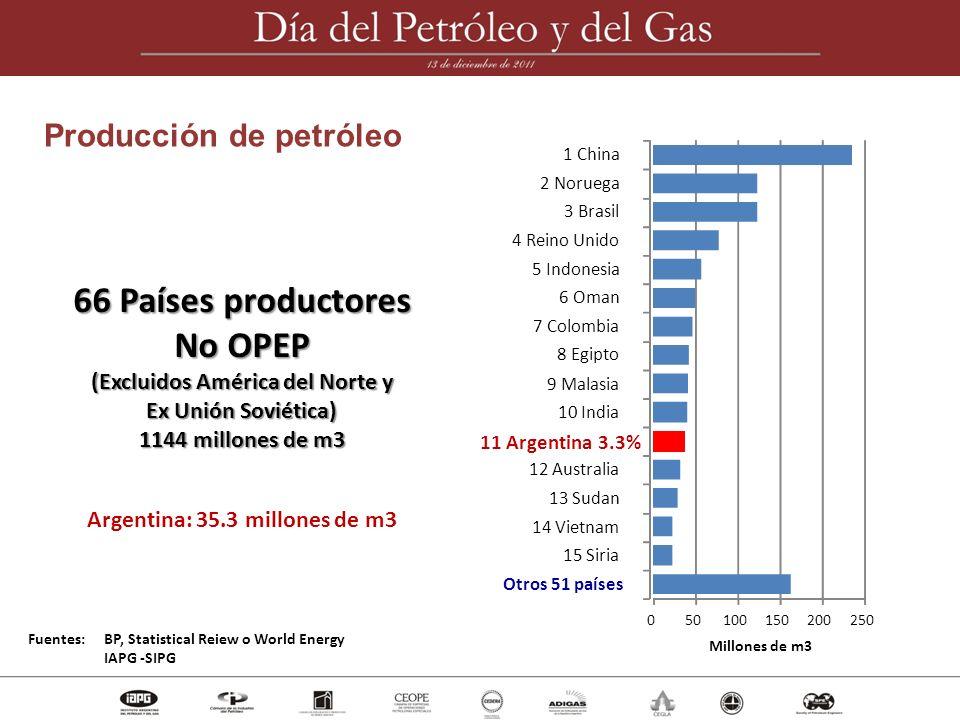 66 Países productores No OPEP (Excluidos América del Norte y Ex Unión Soviética) 1144 millones de m3 Argentina: 35.3 millones de m3 Fuentes: BP, Stati