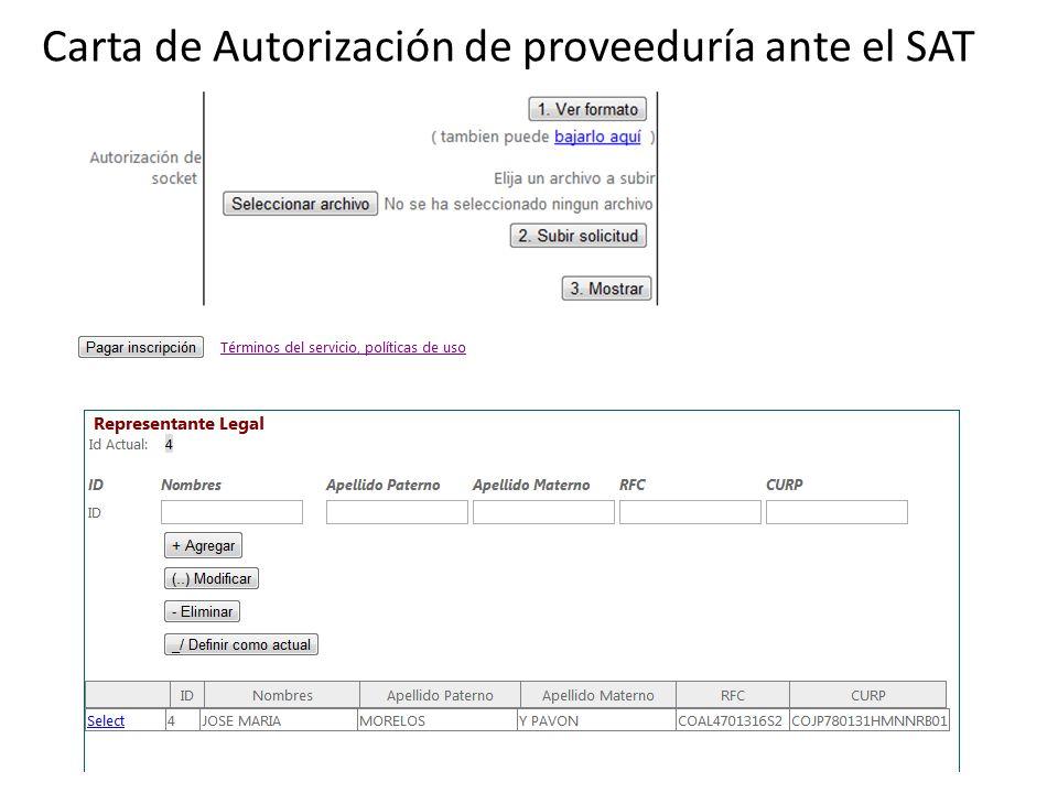 Carta de Autorización de proveeduría ante el SAT