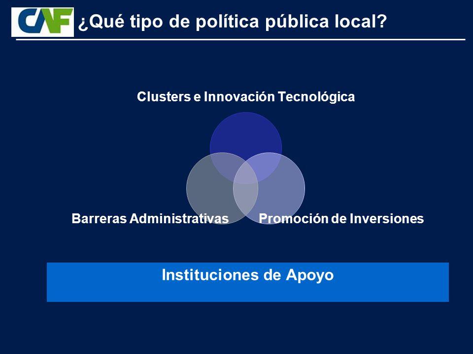 Instituciones de Apoyo Clusters e Innovación Tecnológica Promoción de Inversiones Barreras Administrativas ¿Qué tipo de política pública local