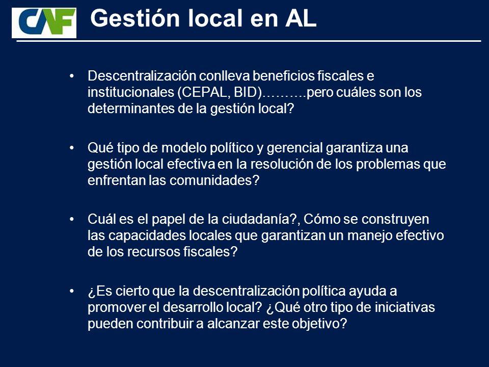 Gestión local en AL Descentralización conlleva beneficios fiscales e institucionales (CEPAL, BID)……….pero cuáles son los determinantes de la gestión local.