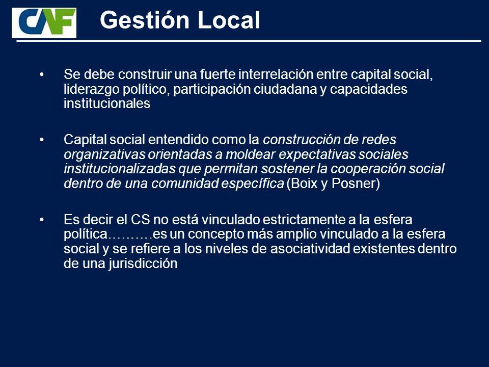 Gestión Local Evidentemente, los niveles de capital social van a influir directamente en ambos variables: a mayores niveles de capital social mayores niveles de participación ciudadana y mayor efectividad de las instituciones (Putnam y Ostrom).