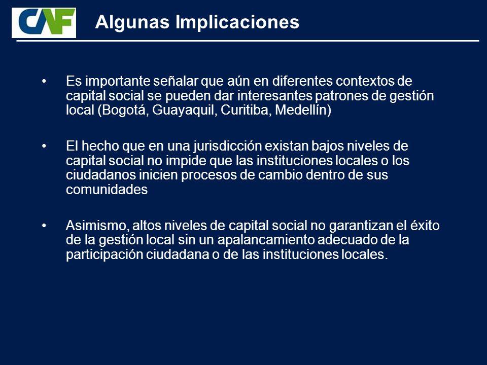 Algunas Implicaciones Por ejemplo, los procesos de gestión local que están orientados al fortalecimiento institucional suelen darse en contextos de alto capital social y participación ciudadana.