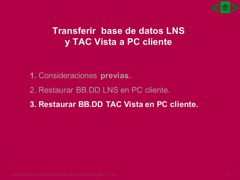 12Schneider Electric - Centro Competencia Técnica- José Manuel Domínguez – 01, 2013* Transferir base de datos LNS y TAC Vista a PC cliente 1.
