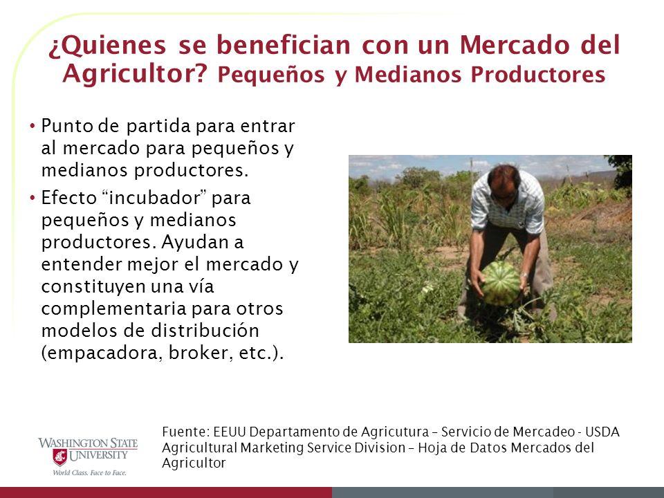¿Quienes se benefician con un Mercado del Agricultor?* Consumidores Acceso a productos frescos y producidos localmente.