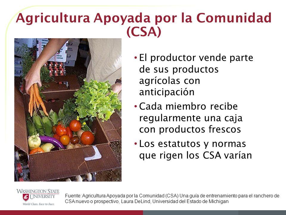 Agricultura Apoyada por la Comunidad (CSA) El productor vende parte de sus productos agrícolas con anticipación Cada miembro recibe regularmente una c
