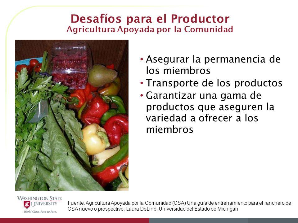 Desafíos para el Productor Agricultura Apoyada por la Comunidad Asegurar la permanencia de los miembros Transporte de los productos Garantizar una gam