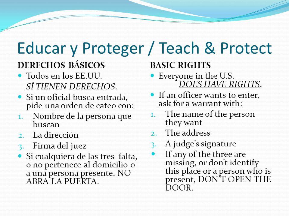 Educar y Proteger / Teach & Protect DERECHOS BÁSICOS Todos en los EE.UU.