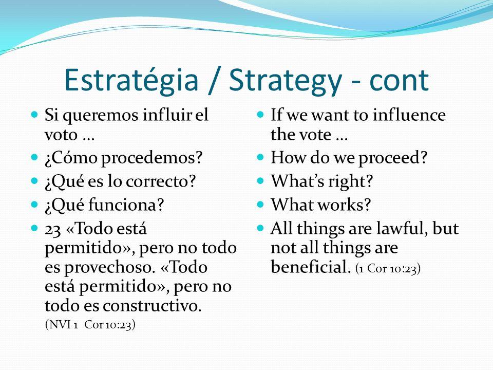 Estratégia / Strategy - cont Si queremos influir el voto … ¿Cómo procedemos.