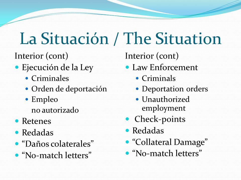 La Situación / The Situation Interior (cont) Cooperación de jurisdicciones locales con ICE Jurisdicciones a cada nivel están promulgando sus propias leyes.