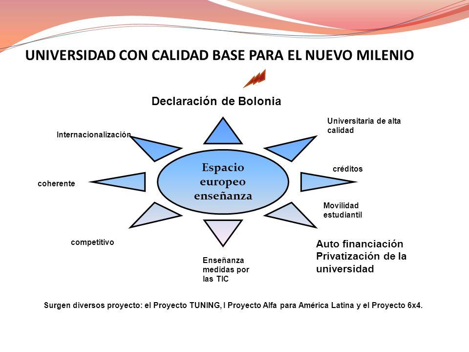 UNIVERSIDAD CON CALIDAD BASE PARA EL NUEVO MILENIO Declaración de Bolonia Universitaria de alta calidad Espacio europeo enseñanza Internacionalización