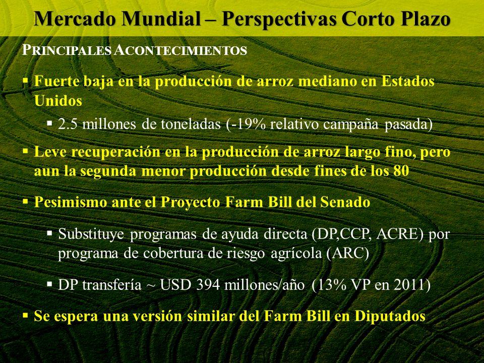 P RINCIPALES A CONTECIMIENTOS Fuerte baja en la producción de arroz mediano en Estados Unidos 2.5 millones de toneladas (-19% relativo campaña pasada)