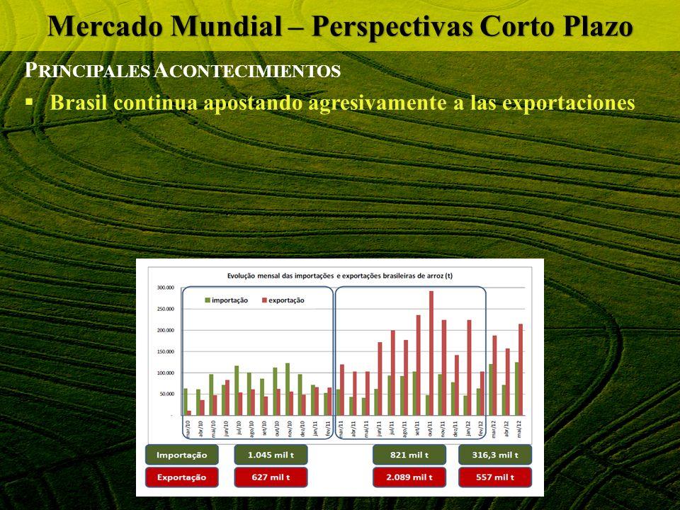 P RINCIPALES A CONTECIMIENTOS Brasil continua apostando agresivamente a las exportaciones Mercado Mundial – Perspectivas Corto Plazo