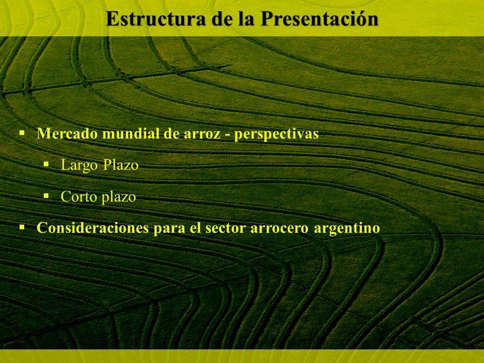 Mercado mundial de arroz - perspectivas Largo Plazo Corto plazo Consideraciones para el sector arrocero argentino Estructura de la Presentación