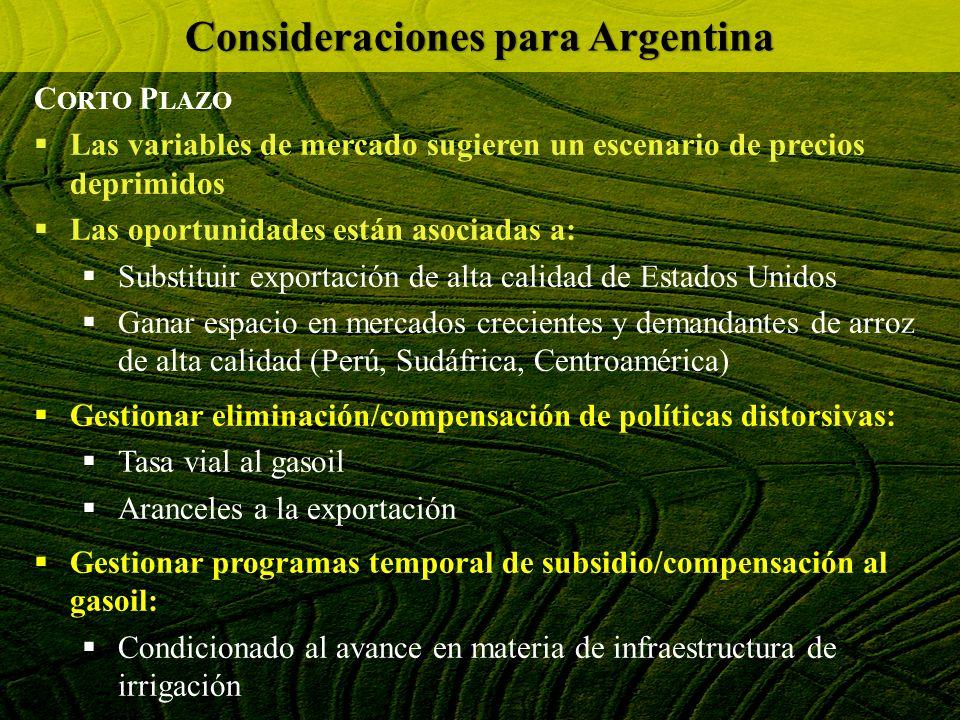 C ORTO P LAZO Las variables de mercado sugieren un escenario de precios deprimidos Las oportunidades están asociadas a: Substituir exportación de alta