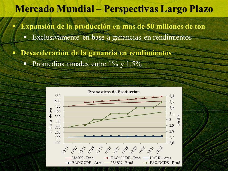 Brasil puede mantener el ritmo de comercio del 1er trimestre solo a costa de una fuerte liquidación de stocks Debe haber un ajuste en la balanza comercial de arroz con aumento de importaciones relativo a exportaciones Los precios al productor han estado por sobre el precio mínimo desde Marzo 2012 sin efecto los PEPs OFERTA & DEMANDA 2011/2012BRASIL TOTAL STOCK INICIAL al 28/12/2012 2.100.000 PRODUCCION TOTAL 11.631.000 OFERTA TOTAL (Stock inicial + producción) 13.731.000 TOTAL IMPORTACIONES 1.265.200 TOTAL CONSUMO DOMESTICO -12.300.000 TOTAL EXPORTACIONES -2.228.000 STOCK FINAL PROYECTADO AL 28/02/2013 468.200 DIFERENCIA DE STOCKS 2013 - 2012 -1.631.800 Valores expresados en toneladas base cascara Mercado Mundial – Perspectivas Corto Plazo