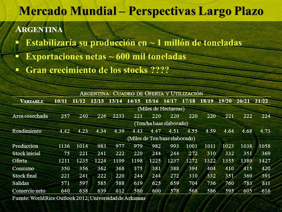 A RGENTINA Estabilizaría su producción en ~ 1 millón de toneladas Exportaciones netas ~ 600 mil toneladas Gran crecimiento de los stocks ???? Mercado